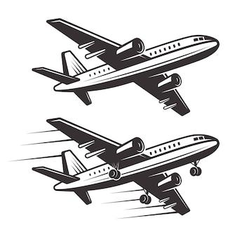 Passenger airplane two   elements  monochrome illustration  on white background