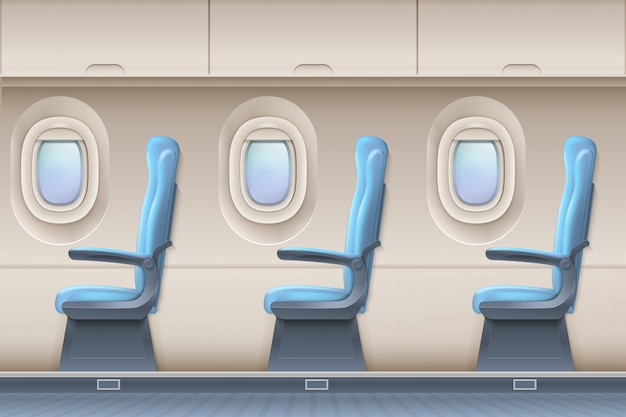 Passenger airplane vector interior. aircraft indoor with comfortable chairs and portholes