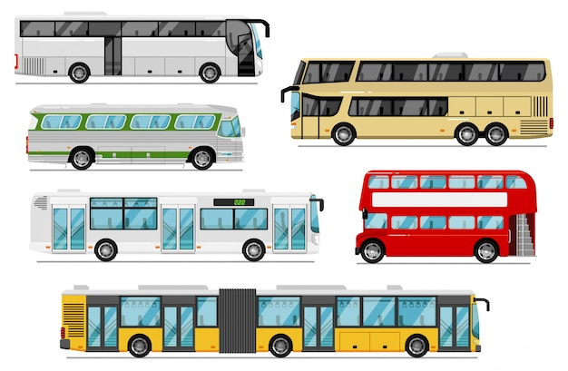 여객 버스 세트. 고립 된 공공 도시, 코치, 투어, 이층 버스 전송 아이콘. 트렁크 룸과 벨로우즈가있는 버스 차량. 도시 여객 운송 및 여행