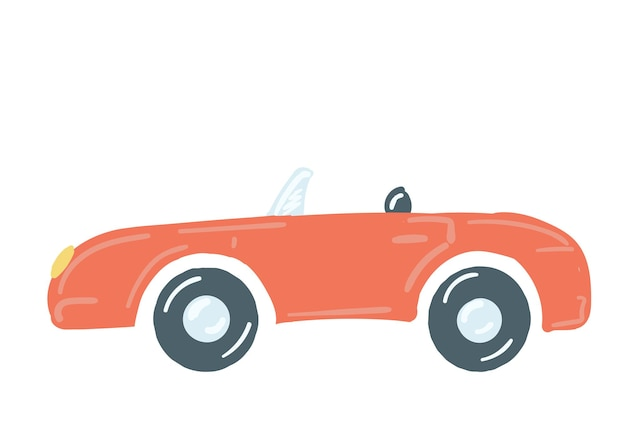 Passenger car convertible in red insulated machine without a roof hand drawn cartoon style vector
