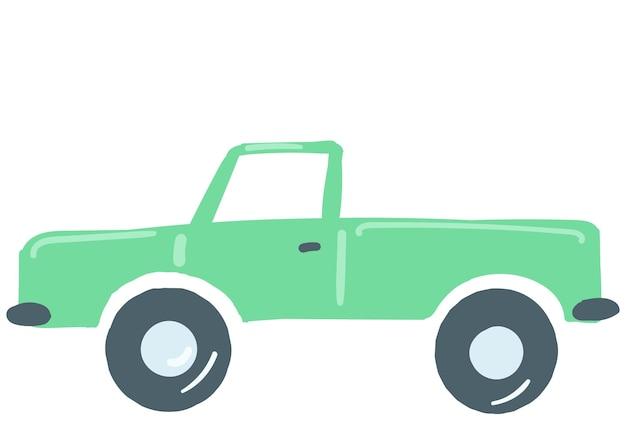 乗用車の緑色の孤立した交通要素手描き漫画スタイルのベクトル図