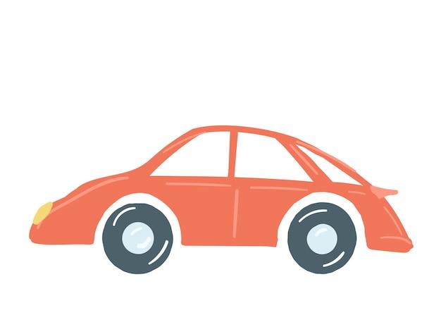 赤い色の乗用車は、手描きの漫画スタイルのベクトル図を分離しました