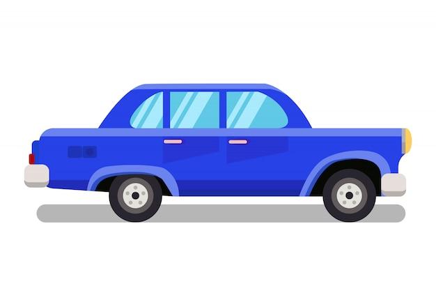 Passenger car, old sedan flat color illustration