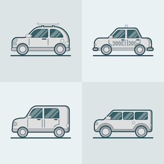 Passenger car van suv taxi road lineart