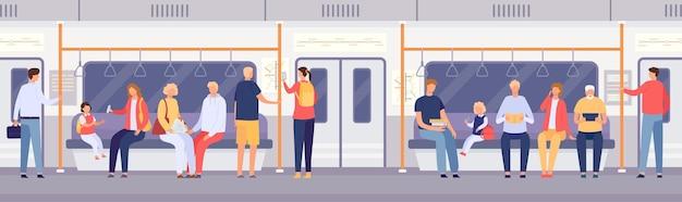 地下鉄や市バスの中の乗客の群衆。公共交通機関に立って座っている漫画の人々。メトロカーベクトルの概念による旅行。地下を使用する男性と女性のキャラクター