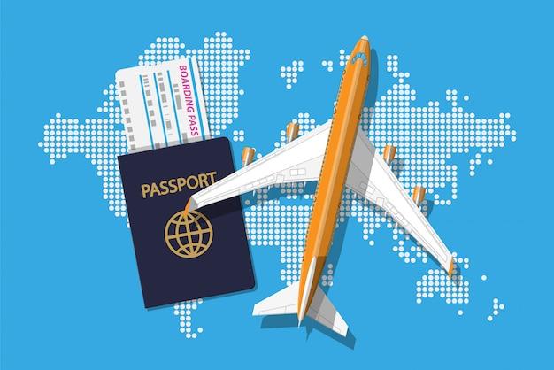 여객기, 탑승권 및 여권,지도