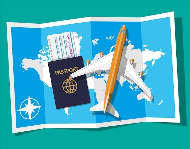 Пассажирский самолет, посадочный талон и паспорт, карта