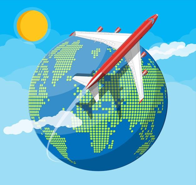 旅客機、世界地図