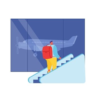 Passenger male character with backpack going up by moving staircase in airport hall departure terminal interior.