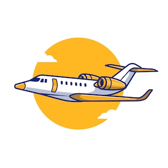 Passenger plane cartoon icon illustration. air transportasion icon concept isolated premium . flat cartoon style