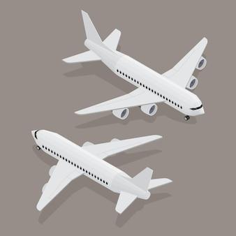 アイソメビューの旅客機。白い平らな飛行機。ゲームやインフォグラフィック用の3dオブジェクト。ベクトルイラスト。旅行や観光のための航空機。
