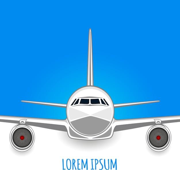 白-青の背景に旅客機。テキスト用の空のスペース。チラシ。図