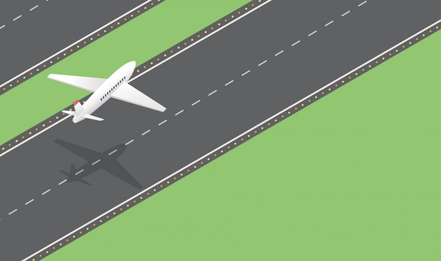 Passenger plane takeoff isometric vector illustration