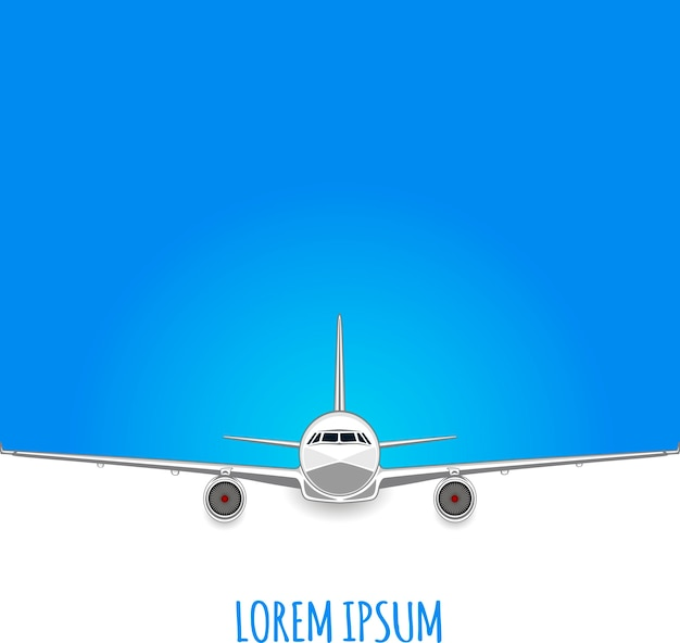 Passenger plane on white - blue background. empty space for text. flyer .  illustration