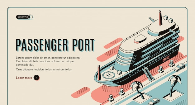 Passenger port isometric  web banner template.