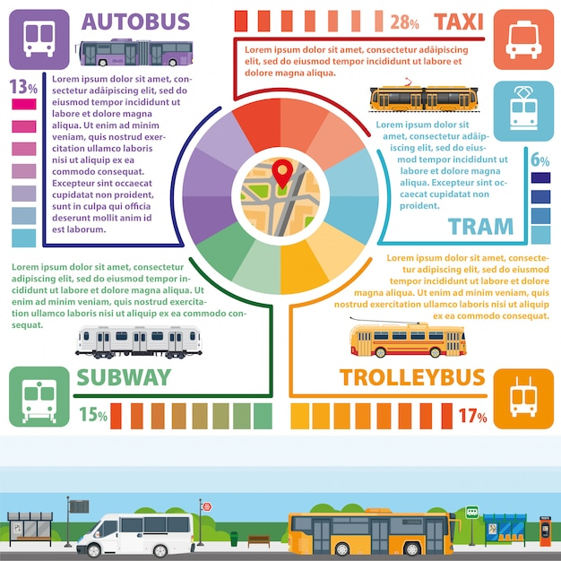 Passenger public transport vector infographics flat template
