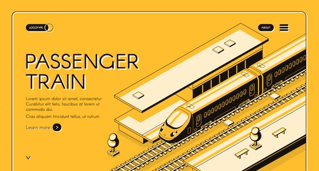 Passenger train isometric web banner. high-speed express train on railroad station