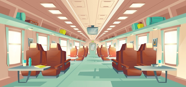 Passenger train wagon interior cartoon vector