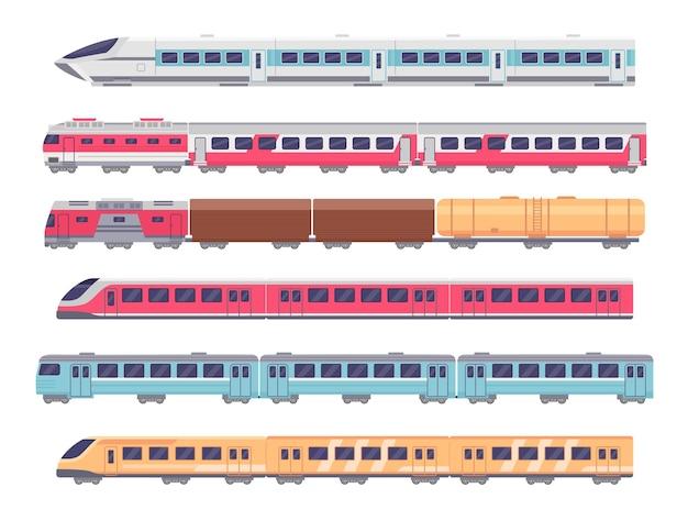 旅客列車。漫画の地下鉄、急行、貨物列車。ワゴンによる地下輸送。メトロ機関車、鉄道車両ベクトルセット。鉄道、近代的な鉄道車両で公共を訓練する