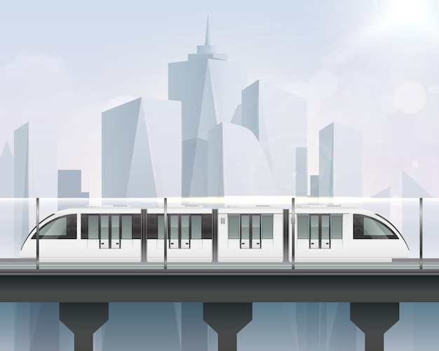 Passenger tram train realistic composition with view of cityscape and light railway with modern metropolitan train illustration