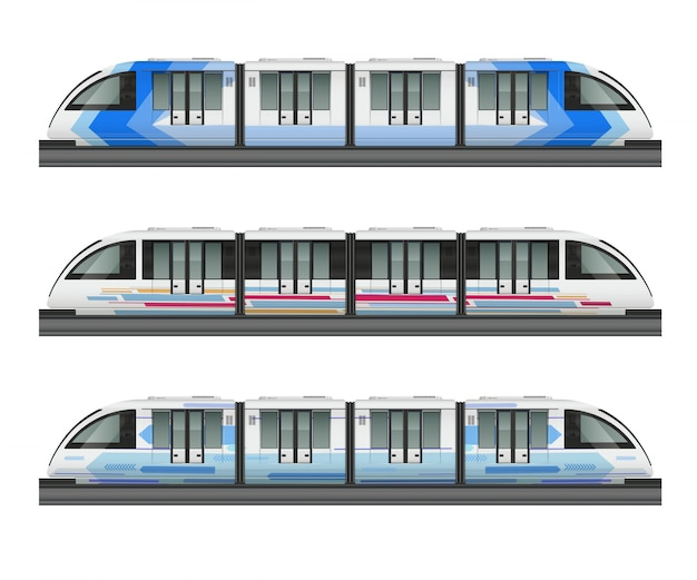 Passenger tram train realistic mockup with side view of three metropolitan trains with various coloring livery illustration