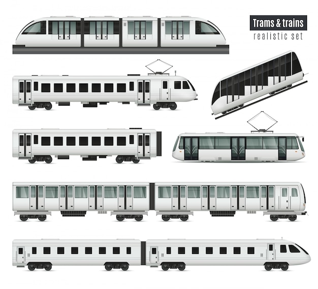 Passenger tram train realistic set with isolated images of public transport railroad cars and electric trams illustration