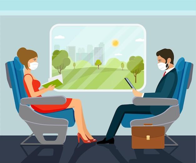 승객 젊은 아름 다운 여자와 의료 마스크에 기차에의 자에 앉아 사업가 문자.