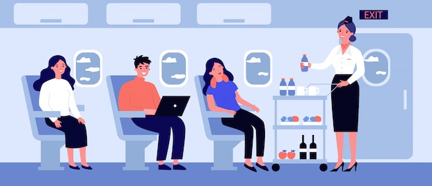 Passengers in air trip waiting for beverage