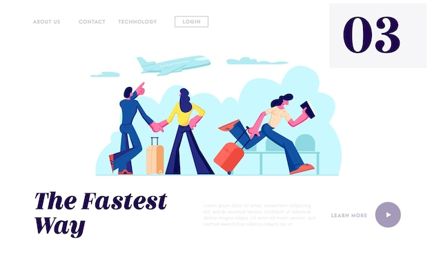Passengers in airport going on vacation. couple waiting flight in terminal. woman holding tickets hurry on plane, traveling website landing page, web page. cartoon flat vector illustration