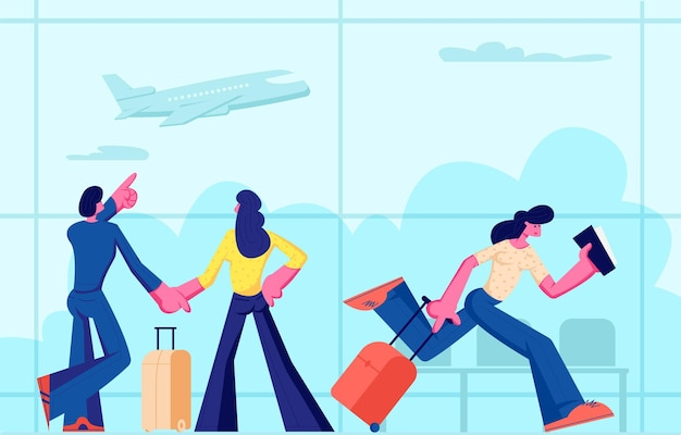 Passengers in airport going on vacation. happy young couple with luggage waiting flight in terminal. woman holding tickets and suitcase hurry on plane board, traveling cartoon flat vector illustration