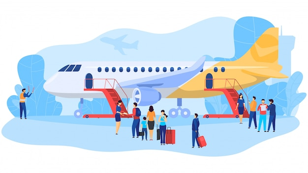Passengers boarding airplane, people at airport, illustration