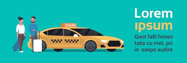 Passengers couple order yellow taxi service sit in car cab over background with copy space