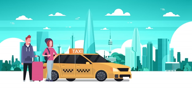 Passengers couple order yellow taxi service sit in car cab over silhouette city background