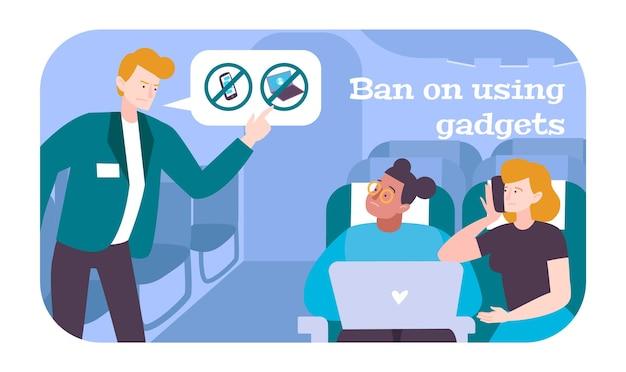 Пассажиры в самолете со стюардом, дающим запрет на использование гаджетов
