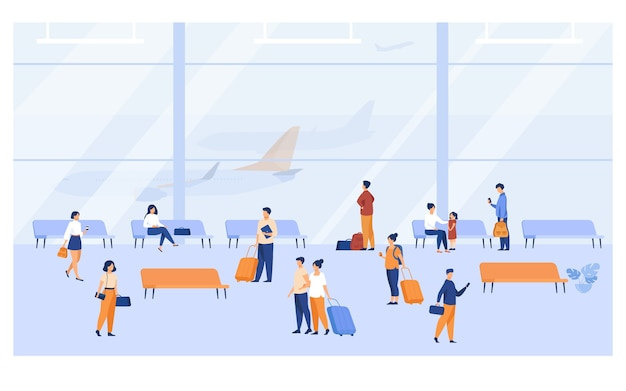 Passengers inside airport building with large panoramic windows flat vector illustration. cartoon character waiting plane, sitting on benches, walking with baggage.