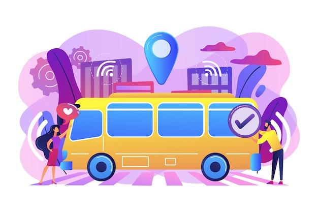 Passengers like and approve autonomos robotic driverless bus illustration