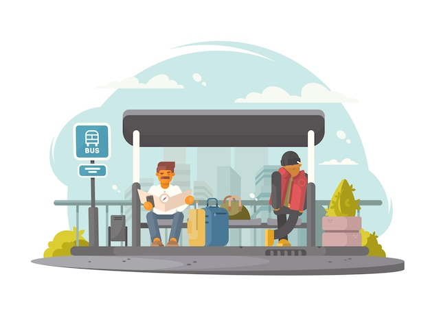 Passengers sitting at bus stop waiting for transport.  illustration