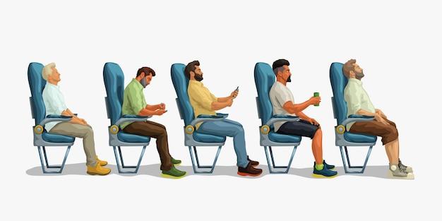 Пассажиры, сидящие на сиденье, вид сбоку