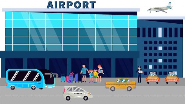 乗客は空港ターミナルに立ち、タクシーのイラストを待ちます。