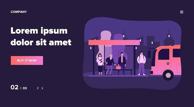 버스 정류장에 서있는 승객. 사업가, 수석 남자, 학생 대기 차량. 도시 교통, 통근자, 도시 생활 개념 그림