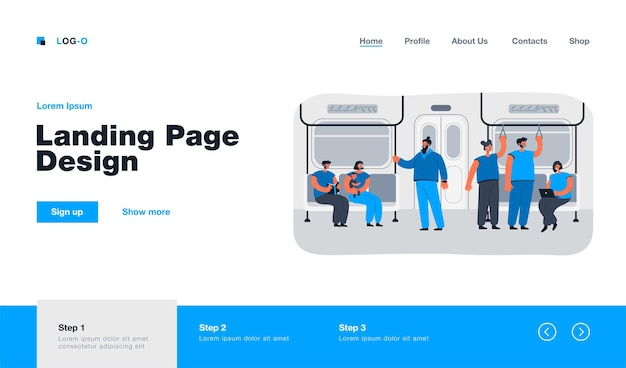 Passengers in subway or underground car interior landing page in flat style
