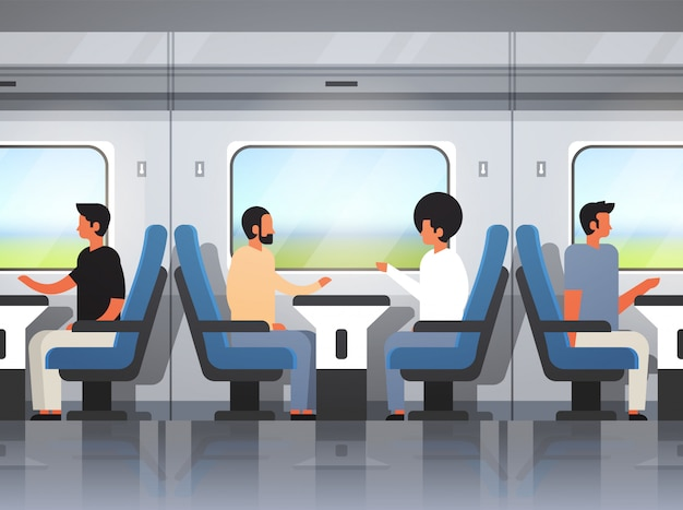 Passengers traveling modern express train