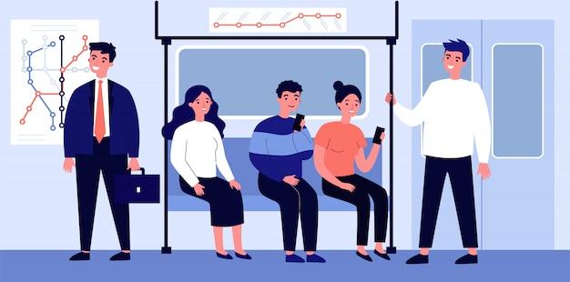 地下のイラストで旅行する乗客