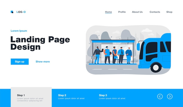 Passengers waiting for transport at bus stop landing page in flat style