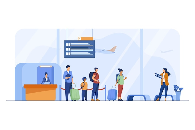 Passengers with luggage in airport flat illustration.