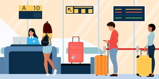 Passengers with luggage are checked in at the airport vector illustration design in flat style