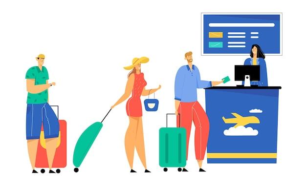 Пассажиры с багажом стоят в очереди, оформляя документы