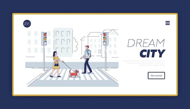 Прохожие на пешеходном переходе. герои мультфильмов переходят улицу, целевая страница.