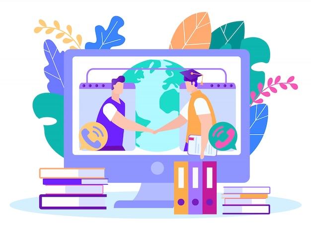 Passing final exam remotely vector illustration