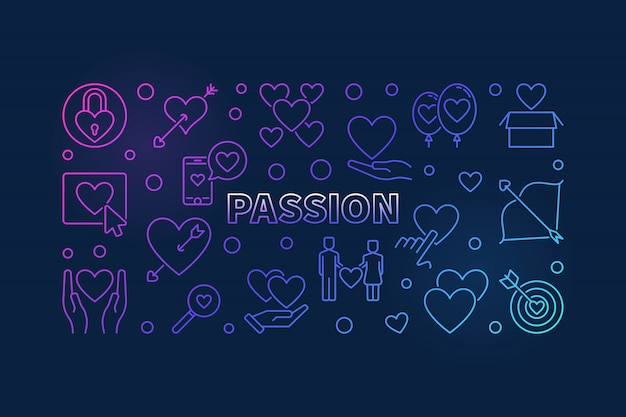 Passion colored line icon illustration. love modern banner